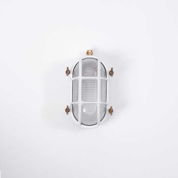 white caged wall light