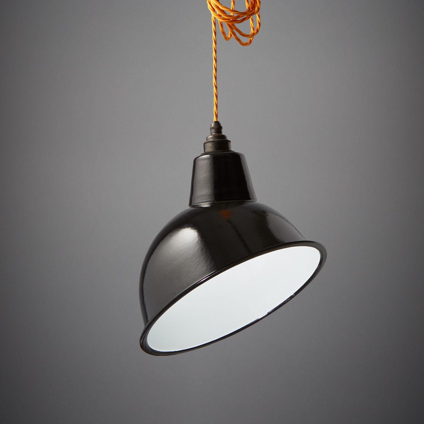 Nostalgia Lights Angled Cloche Enamel Shade Black