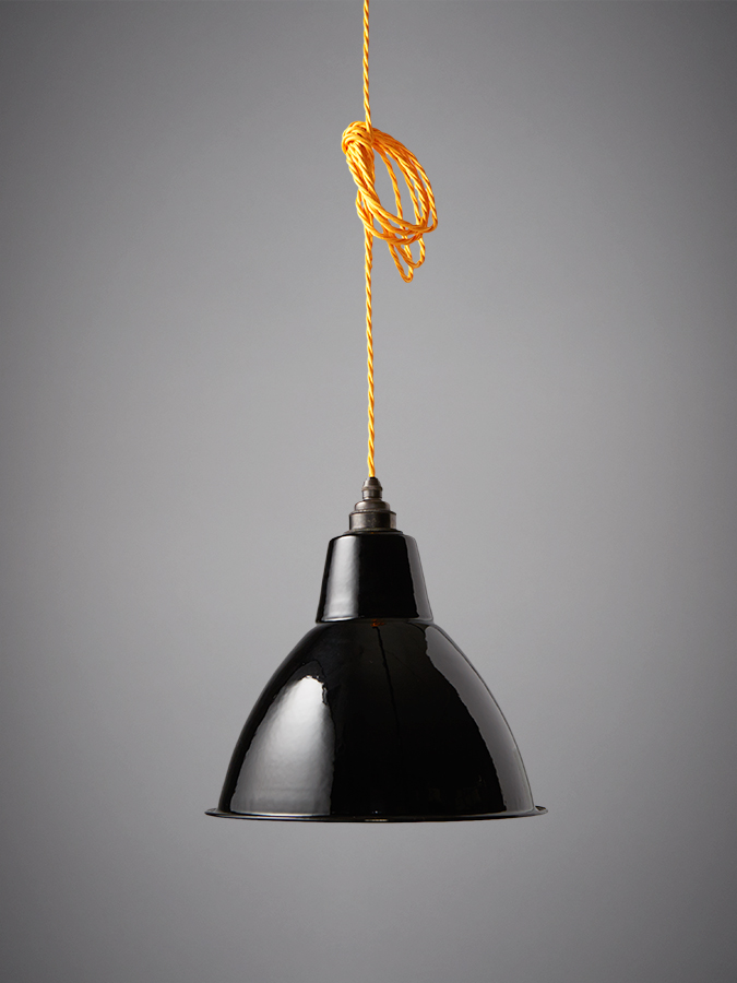 Nostalgia Lights Small Dome Enamel Shade Black